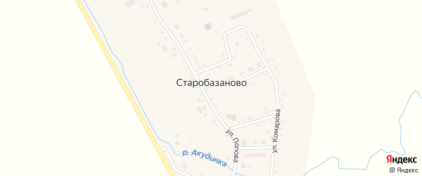 Молодежный переулок на карте села Старобазаново с номерами домов