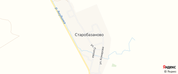 Карта села Старобазаново в Башкортостане с улицами и номерами домов