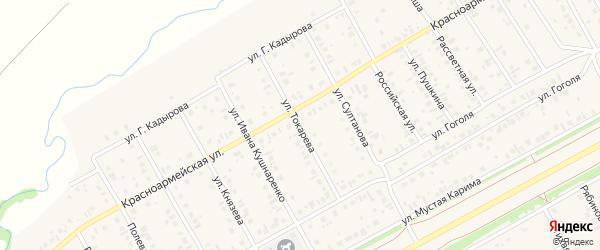 Улица Токарева на карте села Кушнаренково с номерами домов