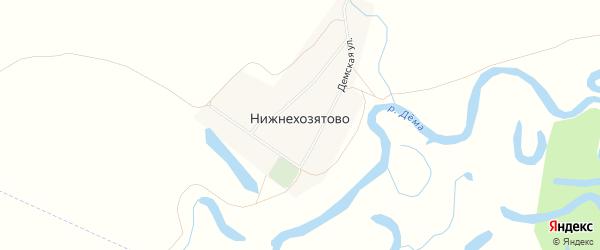 Карта деревни Нижнехозятово в Башкортостане с улицами и номерами домов