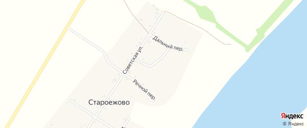 Зеленый переулок на карте деревни Староежово с номерами домов