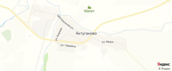 Карта села Актуганово в Башкортостане с улицами и номерами домов