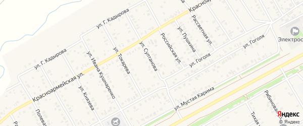 Улица Султанова на карте села Кушнаренково с номерами домов