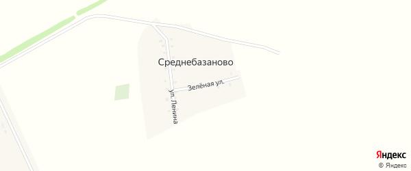 Зеленая улица на карте деревни Среднебазаново с номерами домов