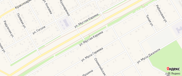 Улица Мустая Карима на карте села Кушнаренково с номерами домов
