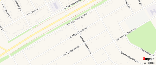 Улица М.Гареева на карте села Кушнаренково с номерами домов
