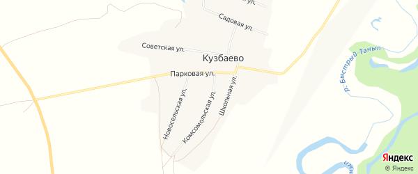 Карта деревни Кузбаево в Башкортостане с улицами и номерами домов