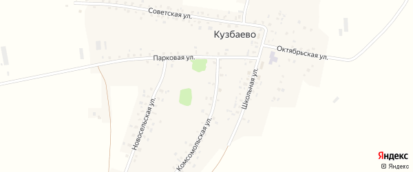 Комсомольская улица на карте деревни Кузбаево с номерами домов