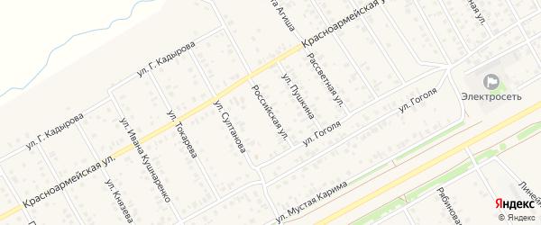 Российская улица на карте села Кушнаренково с номерами домов
