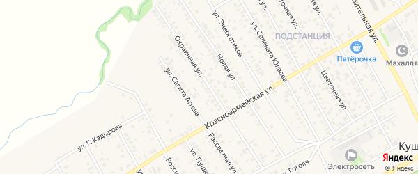 Окраинная улица на карте села Кушнаренково с номерами домов