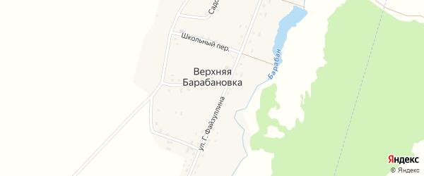 Школьный переулок на карте деревни Верхней Барабановки с номерами домов