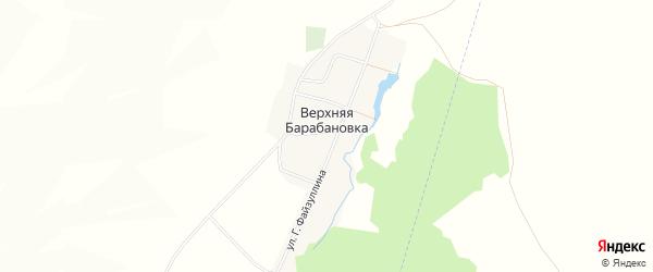 Карта деревни Верхней Барабановки в Башкортостане с улицами и номерами домов