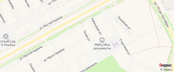 Тихая улица на карте села Кушнаренково с номерами домов