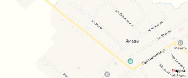 Центральная улица на карте села Ямады с номерами домов