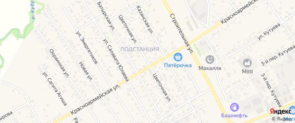 Цветочная улица на карте села Кушнаренково с номерами домов