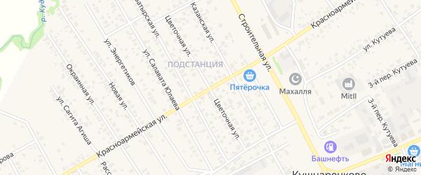 Красноармейская улица на карте села Кушнаренково с номерами домов