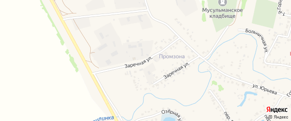 Заречная улица на карте села Кушнаренково с номерами домов