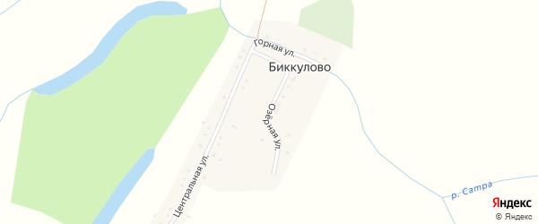 Озерная улица на карте деревни Биккулово с номерами домов