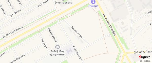 Линейная улица на карте села Кушнаренково с номерами домов