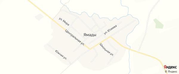 Карта села Ямады в Башкортостане с улицами и номерами домов