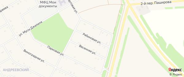 Рябиновая улица на карте села Кушнаренково с номерами домов