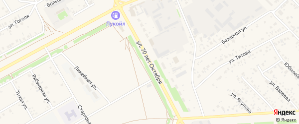 Улица 70 лет Октября на карте села Кушнаренково с номерами домов