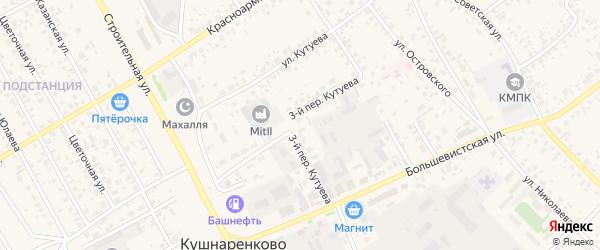 Кутуева 3-й переулок на карте села Кушнаренково с номерами домов