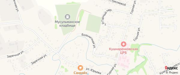 Больничная улица на карте села Кушнаренково с номерами домов