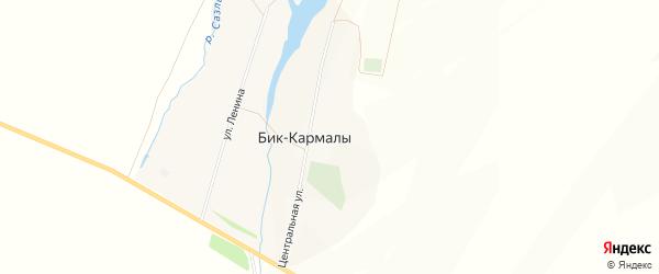 Карта села Бика-Кармалы в Башкортостане с улицами и номерами домов