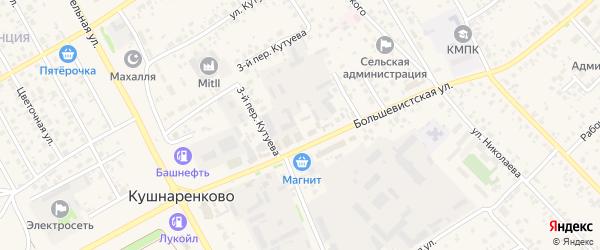 Большевистской 2-й переулок на карте села Кушнаренково с номерами домов
