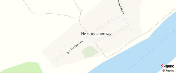 Улица Такташева на карте села Нижнелачентау с номерами домов