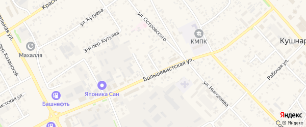 Большевистской 1-й переулок на карте села Кушнаренково с номерами домов