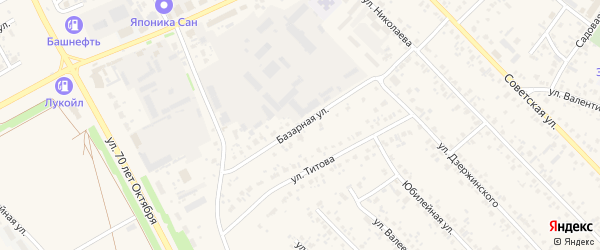 Базарная улица на карте села Кушнаренково с номерами домов