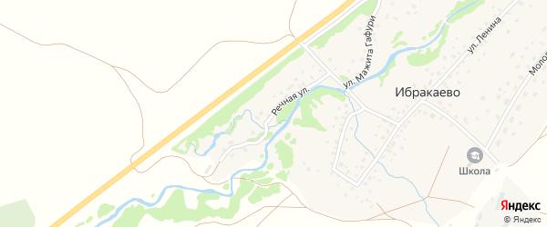 Речная улица на карте деревни Ибракаево с номерами домов