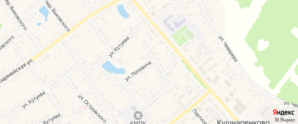 Улица Поповича на карте села Кушнаренково с номерами домов