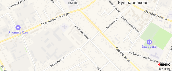 Улица Николаева на карте села Кушнаренково с номерами домов
