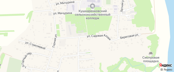Садовая аллея на карте села Кушнаренково с номерами домов