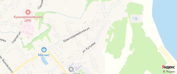 Кутуева 1-й переулок на карте села Кушнаренково с номерами домов