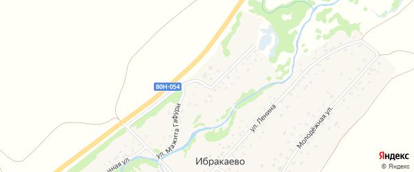 Улица Мажита Гафури на карте деревни Ибракаево с номерами домов