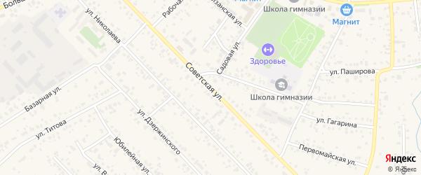 Советская улица на карте села Кушнаренково с номерами домов