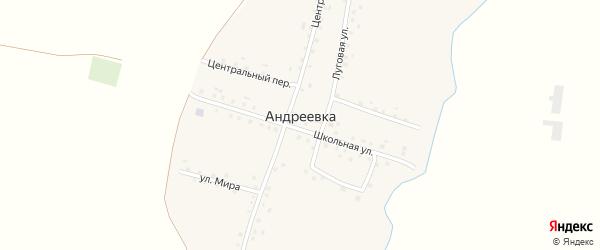 Центральный переулок на карте села Андреевки с номерами домов
