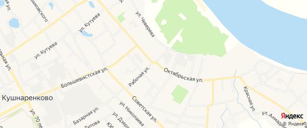 Карта села Кушнаренково в Башкортостане с улицами и номерами домов