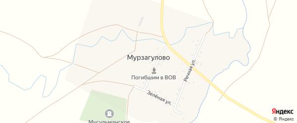 Зеленая улица на карте деревни Мурзагулово с номерами домов
