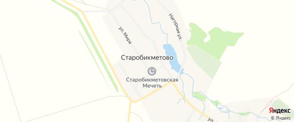 Карта деревни Старобикметово в Башкортостане с улицами и номерами домов