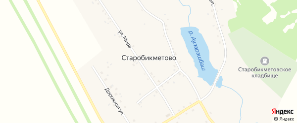 Улица Мира на карте деревни Старобикметово с номерами домов