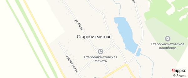Дорожная улица на карте деревни Старобикметово с номерами домов