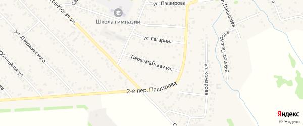 Первомайская улица на карте села Кушнаренково с номерами домов