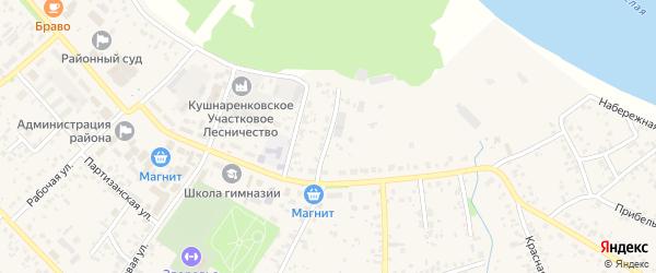 Крупокомбинатский переулок на карте села Кушнаренково с номерами домов