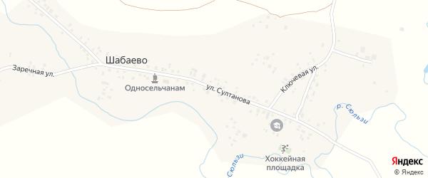 Улица Султанова на карте деревни Шабаево с номерами домов