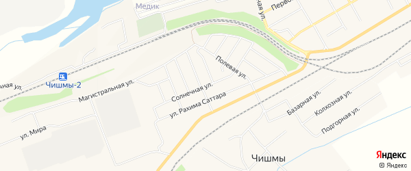 СТ Солнечная поляна на карте Чишминского района с номерами домов